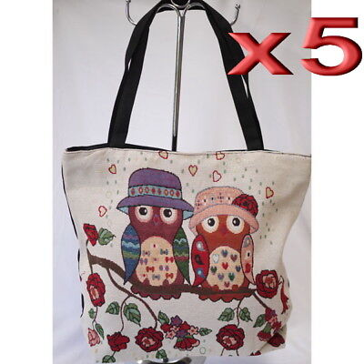5pc Wholesale Large Owl Canvas Shoulder Casual Handbag Women Lady Girl Bag