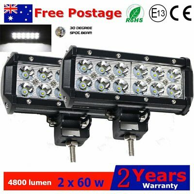 2PCS 60W Cree LED Light Bar 7inch Spot Beam Offroad Work Reverse 4WD Lamp