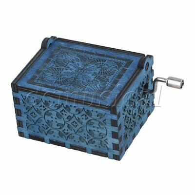 Blue Retro Q Type Carved Children Kids Gift Hand-cranked Music Box Toys