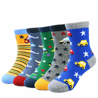 5 Pairs Cute Boys Girls Cartoon Cotton Anti Slip Socks Toddler Kids 3-5 Years US