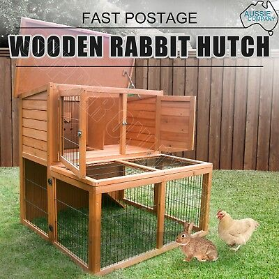 2 Storey Wooden Rabbit Hutch Chicken Coop Guinea Pig Ferret Cage Hen House Run