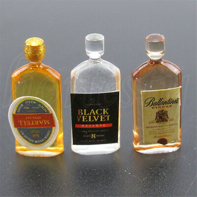 4pcs Dollhouse Miniature Wine Whisky Bottles Shop Pub Bar Drinks Accessory