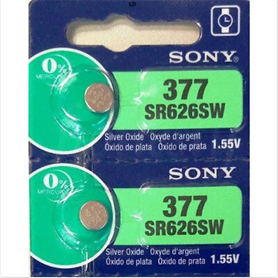 2PCS 1.55V Silver Oxide Button-type Watch Batteries For Sony 377 SR626SW NEW