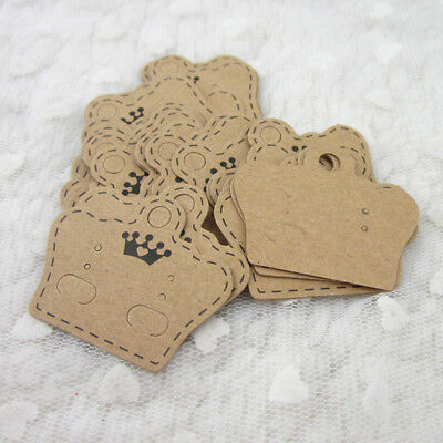 100pcs Fashion Brown Paper Cards Brooches Earring Studs Display Hanging Holder