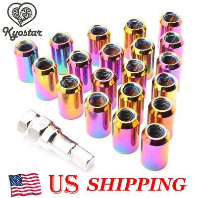 20PCS Inner Hex Neo Chrome Rounded Tuner Racing Steel Wheel Lug Nuts M12 x 1.5