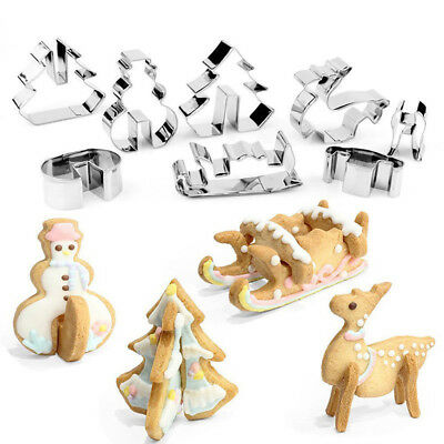 EG_ 3D Christmas Scenario Cookie Cutter Set Cake Decoration Stainless Steel Bisc