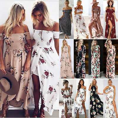 Women's Boho Long Maxi Dress Floral Vintage Summer Evening Party Beach Sundress