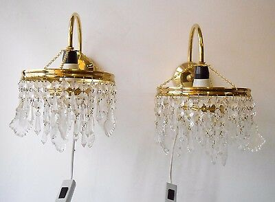 Vintage Collectible Pair of Brass & Crystals Chandelier Wall Light Lamps French