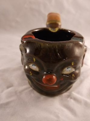 Vintage Pipe Shaped Ceramic Ashtray Clown Face