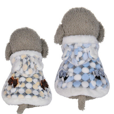 EG_ Pet Dog  Bowknot Clothes Winter Warm Plush Fur Hoodie Puppy Shawl Cape Coat