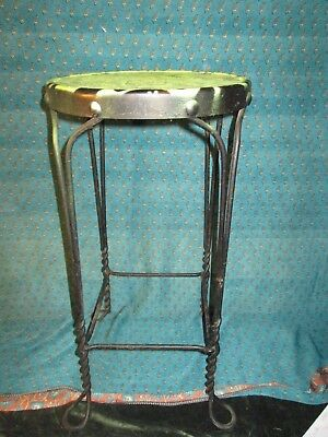 Antique Vintage Wrought Iron Twisted Metal Ice Cream Parlor Stool Barstool