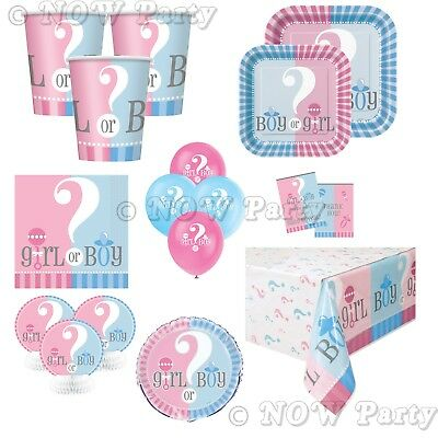 GENDER REVEAL Baby Shower Girls Boys Unisex Party Supplies Tableware Decorations