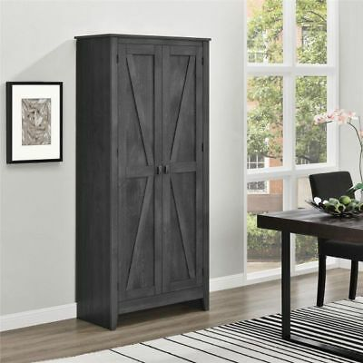 """Rustic Gray Farm Barn Door Storage Cabinet Shabby Large 72"""" Kitchen Pantry Offic"""
