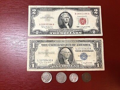 1963 $2 Dollar Red Seal & 1957 $1 Dollar Blue Seal Certificate Plus Others!