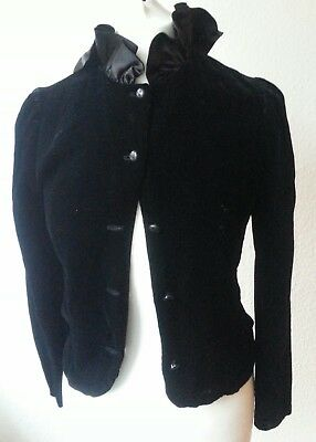 True vintage black velvet dress jacket Gotik Gruftistil Kurzmantel 34 36 / S M
