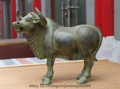 China Dynasty fengshui Pure Bronze Copper Lucky Bull Cattle Ox Cow Palace Statue