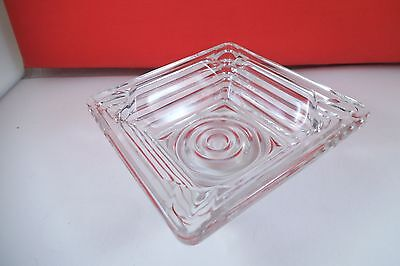 Vintage Anchor Hocking Manhattan Clear Glass Square Ashtray