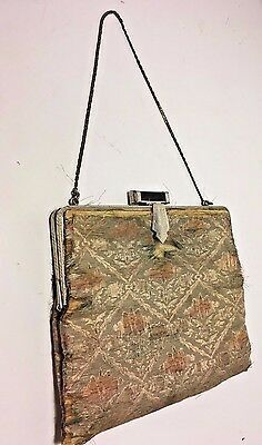 Antique French Silk Purse Art Deco Clasp & Chain~Fabric Needs Repair