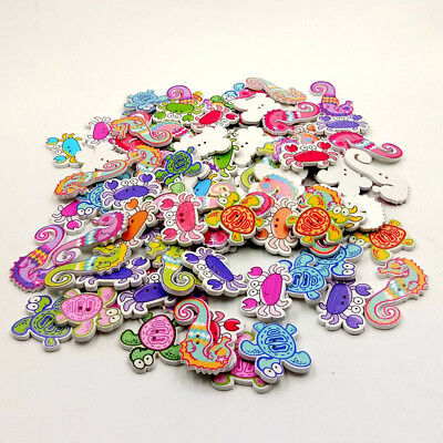 EG_ 50x Wood Button Sea Animal Series Mixed Sewing Scrapbooking 2 Hole Button Ey