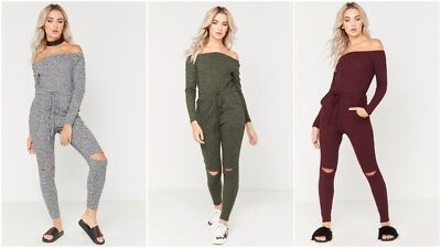 New Womens Ladies Melange Off The Shoulder Bardot Split Knee Loungewear Jumpsuit