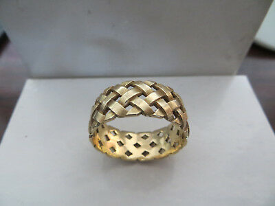 14KT Solid Yellow Gold ARTCARVED Woven Style Ring Size: 11 Basket Weave 7 Grams