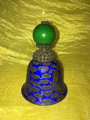 Antique Qing Dynasty Mandarin Rank Hat Button Finial Peking Enamel Bats Bell