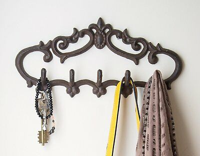 Cast Iron Wall Hanger – Vintage Design with 5 Hooks - Keys, Towels, etc - Wall