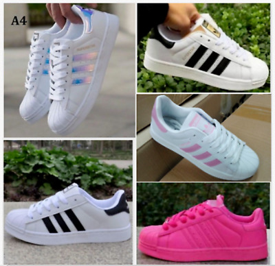 2018Women's Fashion Leather Casual Lace Up Sneakers Trainer Shoes-Superstar