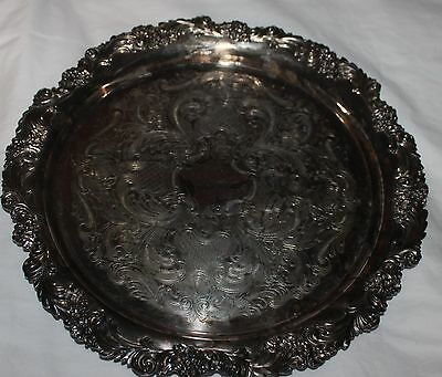 "Vintage Reed & Barton The Burgundy Collection Ornate Etched Round 12.5"" Tray"