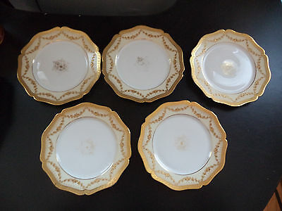 5 Antique Wm Guerin Limoges Gold Encrusted Rose Swag Cabinet Display Plates!