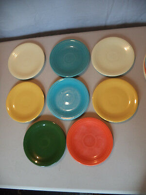 7 Vintage Fiesta Original Colors Bread & Butter BB Cake Plates Good for Everyday