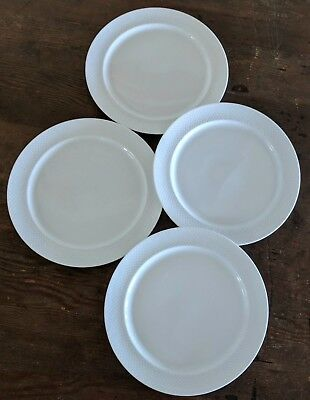 Rosenthal Century White Lot Of Four Salad Plates Textured Rim Germany