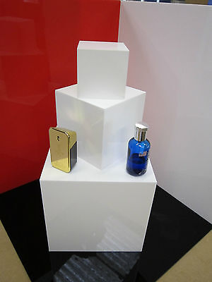 White Acrylic Display Case Cube Stand Square 5 Sided Box Tray Shop Holder