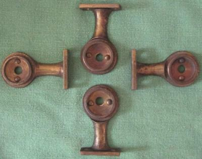 Lot of 2 Antique/Vintage Heavy Duty Brass Brackets Roller Shade Map? #42A