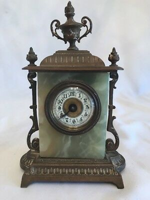 "Antique Marble And Bronze French Clock 8"" Tall"