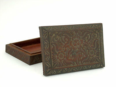 Antique Chinese Ink Stone Box made of Carved Teak Chinese Collectible Wooden Box