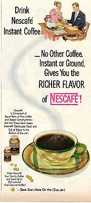 1953 Print Ad of Nescafe Instant Coffee equal parts coffee and carbohydrates