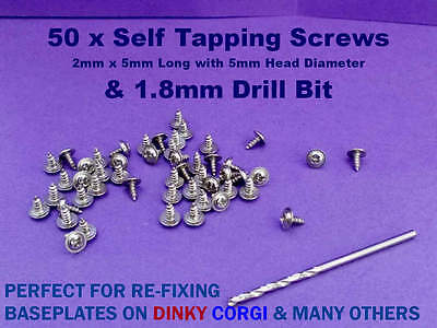 50 x Screws & Drill Bit for Re-Fixing Baseplate DINKY CORGI & MANY OTHERS