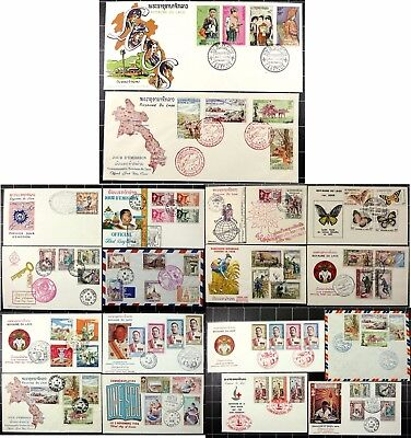 Laos 1958-1965 Interessantes Lot FDC First Day Covers Schmetterlinge König (18)