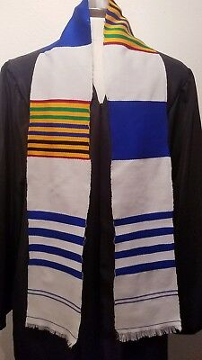 5.5x60inch Authentic African Kente Cloth Stole Scarf made in Ghana, Blue White