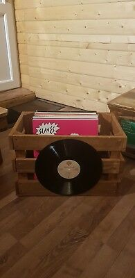 "Wooden Vinyl Record Storage Crate Box LP 12"" Display Box"
