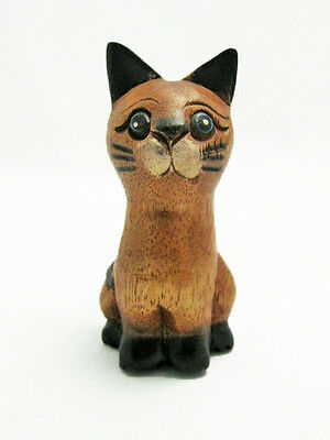"Hand Carved Small Wooden Sitting Cat 4"" tall, Home and Office Decor, SMALL"