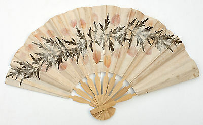 Handmade Burmese Fan - Textured Mulberry Plant from Myanmar