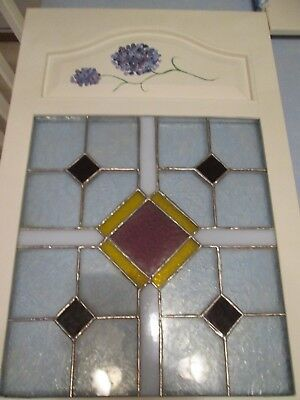 Stained Glass window panel, handmade w/hand painted flower on white frame