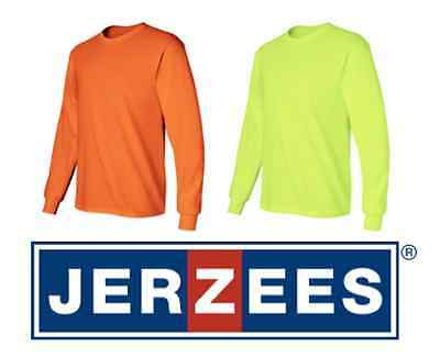 JerZees ANSI Safety Green & Orange Long Sleeve T-Shirt 29L S-3XL HIGH VISIBILITY