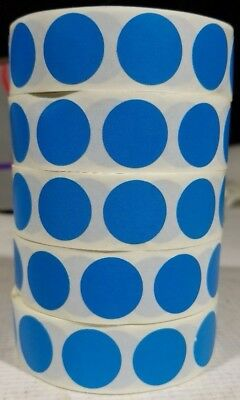 Circle Dot Stickers, 3/4 Inch Round, 500 Labels on a Roll BLUE 5 pack
