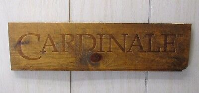 "CARDINALE Wine Crate Panel End Wall Decor 13-3/4"" X 3-3/4"" Ready to Hang"