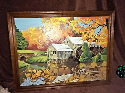 Vintage Large 60s PAINT BY NUMBER The Old Grist Mill Fall Foliage  Framed  23x21