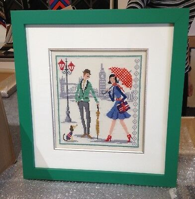 """Finished, Green Wood Framed Handcrafted Cross Stitch """"Vintage in London"""" 38""""x40"""""""