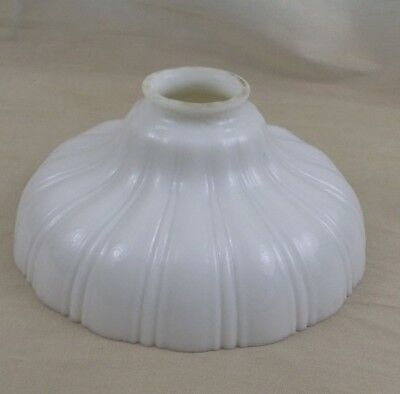 Antique White Ribbed Milk Glass Lamp Shade Globe Torchiere Art Deco
